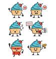 set cupcake character design vector image