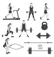 set of fitness girls with fitness equipments vector image