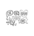 set of hand drawn speech bubbles of vector image vector image