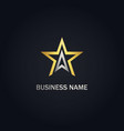 star triangle line gold logo vector image