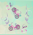 two bicycles ride on abstract mountain serpentine vector image