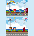 two scenes with kids riding bike and playing kite vector image