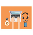 typing on laptop keyboard while drinking coffee vector image vector image