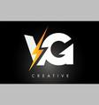 vg letter logo design with lighting thunder bolt vector image vector image