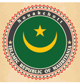 Vintage label cards of Mauritania flag vector image vector image