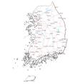 South Korea Black White Map vector image