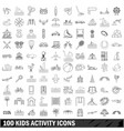 100 kids activity icons set outline style vector image vector image