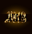 2018 lettering using golden gift ribbon vector image