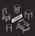 3d line drawn isometric chairs white on dark vector image vector image