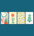 abstract contemporary cards four seasons symbols vector image
