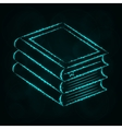 Books silhouette of lights on dark background vector image vector image