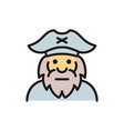 captain sailor pirate old man flat color line vector image
