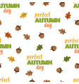 cartoon autumn pattern with acorn vector image vector image