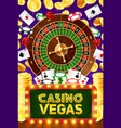 casino poker wheel fortune jackpot vector image vector image