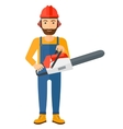 Cheerful lumberjack with chainsaw vector image vector image