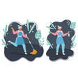 cleaning maid woman mop and spray vector image vector image