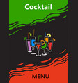 cocktail menu cover vector image vector image