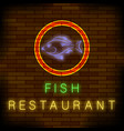 colorful neon fish restaurant sign vector image vector image