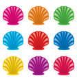 colorful set ocean shell icons vector image vector image