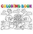 coloring book kids planting tree vector image vector image