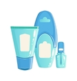 Cream Lotion And Nail Polish In Blue Plastic vector image