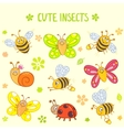 cute insects set vector image vector image