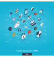 cyber security integrated 3d web icons digital vector image vector image