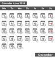 December 2014 Calendar Icons vector image
