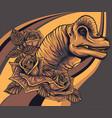 dinosaurus brachiosaurus head with roses vector image vector image