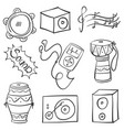 doodle musical instrument vector image vector image