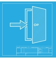 Door Exit sign White section of icon on blueprint vector image vector image