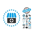 Drugstore Flat Icon with Bonus vector image vector image