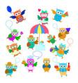 funny cartoon owls set vector image vector image