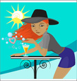 girl in a hat on a blue background vector image vector image