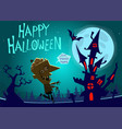 halloween haunted house on night background vector image vector image