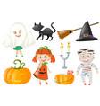 halloween set with kids in costumes vector image