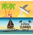 hello summer card shine one two banner vector image