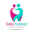 logo combination a tooth woman and man design vector image vector image