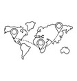 map with location pointers in black and white vector image