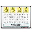 Medical hand drawing line icons vector image