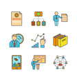 minimal lineart flat business or finance iconset vector image