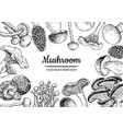 mushroom hand drawn frame isolated sketch vector image vector image