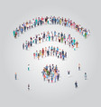 people crowd gathering in shape wifi icon vector image