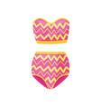 pink two-piece swimsuit with zigzag pattern vector image vector image