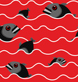 Piranha in ocean Bloody water with marine predator vector image vector image
