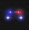 police car headlights and blinking red siren vector image vector image