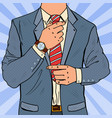 pop art businessman adjusting tie male fashion vector image vector image