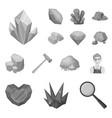 precious minerals monochrome icons in set vector image vector image
