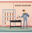 Professional Woodwork Painting Flat Poster vector image
