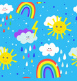 rainbow and sun funny seamless pattern for kids vector image vector image